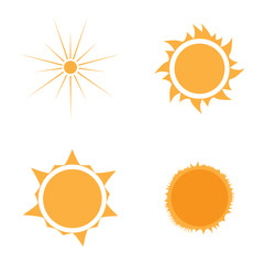 Set of sun icons on a white background, Vector illustration