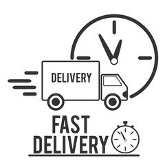 Fast shipping delivery truck flat icon for apps and websites. Vector Illustration
