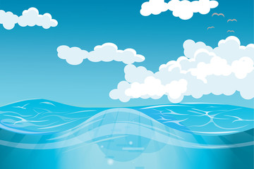clouds and open sea vector illustration