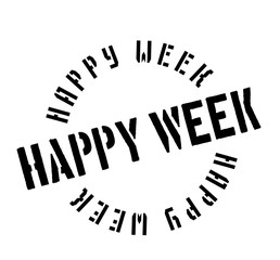Happy Week rubber stamp. Grunge design with dust scratches. Effects can be easily removed for a clean, crisp look. Color is easily changed.