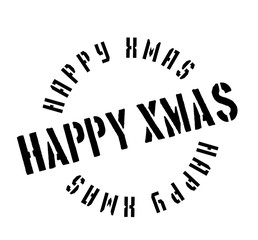 Happy Xmas rubber stamp. Grunge design with dust scratches. Effects can be easily removed for a clean, crisp look. Color is easily changed.
