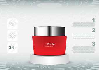 Red cosmetic cream on futuristic stand with 3 icons vector cosmetic ads