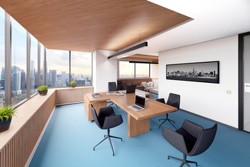 Bright office with panoramic window. 3d illustration