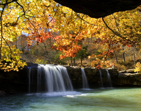 Autumn surrounds Falling Water Falls with fall colors, Ozark National Forest, Arkansas