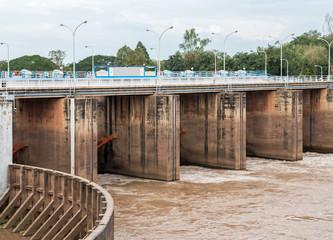 Flood gate of the small concrete dam.