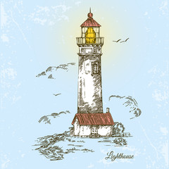 Lighthouse. Vintage style. Vector illustration.