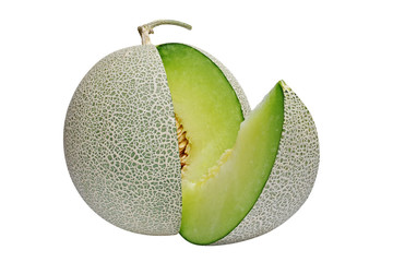 Japanese green melon isolated on white background, clipping path included.