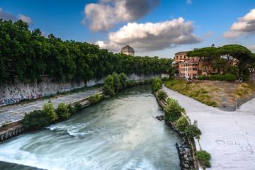 Isola Tiberina, Fiume Tevere, Trastevere, Tramonto, Ora Blu, Roma, Lazio  Italy, Europa