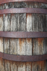 Close-up detail on old rusty wooden keg barrel container
