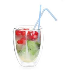 Glass of tasty strawberry lemonade on white background