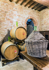 The barrel cellar of Montepulciano red wine