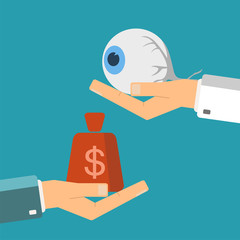 Hand of patient with money and a human eye in doctor hands. Transplant, buying or treatment eye. Healthcare concept. Vector