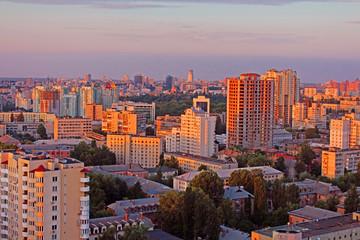 Dormitory area of Kyiv city on the beautiful sunset, Ukraine
