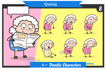 Cartoon Old Lady Face Expressions and Poses Vector Set
