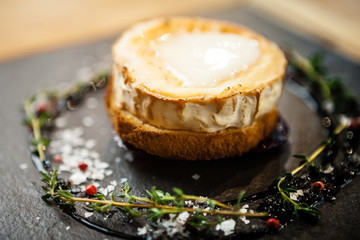 Grilled toast with goat cheese