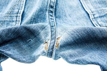 Seam jean texture on white background