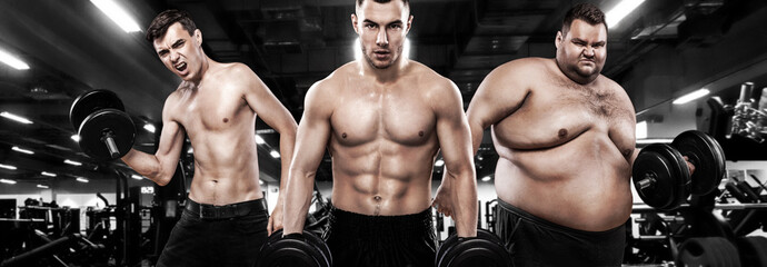 Fat, fit and athletic men. Ectomorph, mesomorph and endomorph . Before and after result. Group of three young sports men - fitness models holds the dumbbell in gym.