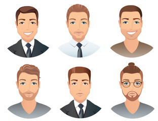 Different hairstyles for men. Collection of male images with beards mustache, glasses, isolated, vector illustration