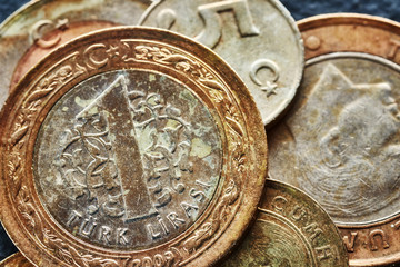 Close up picture of old Turkish lira coins, shallow depth of field.