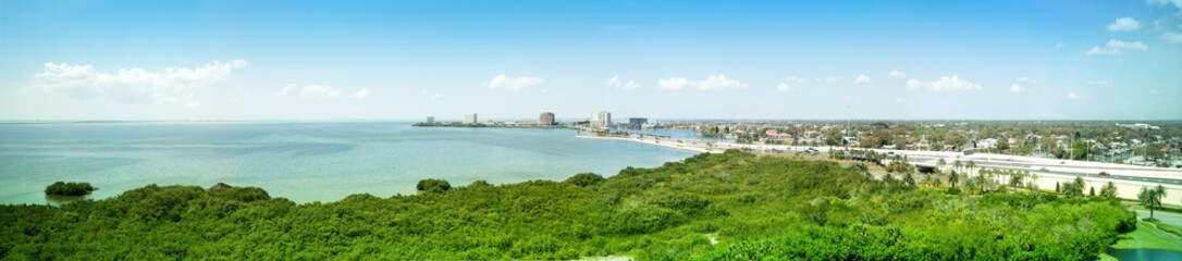 Panorama, view over Old Tampa Bay to Clearwater, Florida, USA,