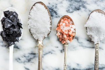 Different Kinds of Salts in Spoons