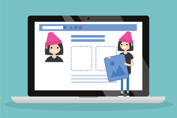 Edit your profile. Conceptual illustration. Young female character uploading a photo on her social media profile / flat vector illustration, clip art