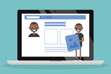 Edit your profile. Conceptual illustration. Young black character uploading a photo on his social media profile / flat vector illustration, clip art