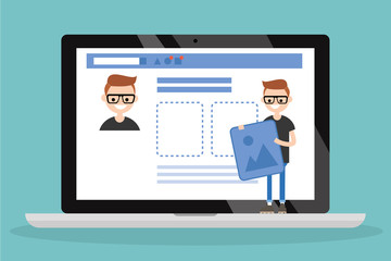 Edit your profile. Conceptual illustration. Young character uploading a photo on his social media profile / flat vector illustration, clip art