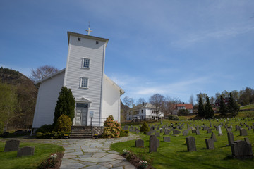 White painted wooden church in Hjelmeland, Norway