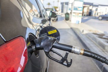 Filling up diesel at the self service tation