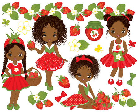 Vector Set with Cute Little African American Girls and Strawberries