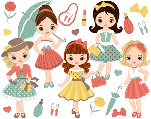 Vector Set with Cute Little Girls in Retro Style and Fashion Accessories