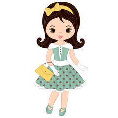 Vector Cute Little Girl in Retro Style