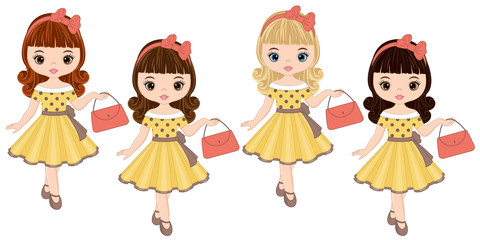 Vector Cute Little Girls with Various Hair Colors in Retro Style