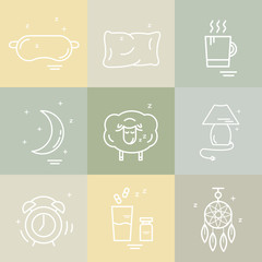 Collection of isolated vector line icons with sleep problems and insomnia symbols