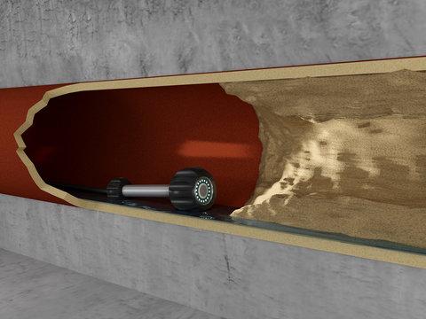 Rohrkamera in Abwasserrohr vor einem Hindernis - Perspektive