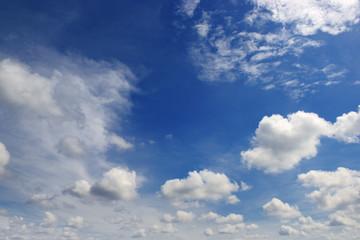 Beautiful white clouds in the dark blue sky.