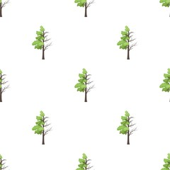 Tree half full of green leaf and half dry icon in cartoon style isolated on white background. Bio and ecology symbol stock vector illustration.
