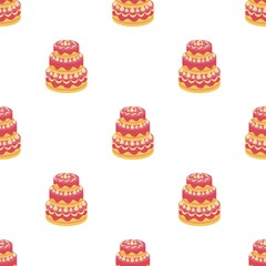 Red three-ply cake icon in cartoon style isolated on white background. Cakes symbol stock vector illustration.