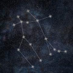 Gemini Constellation. Zodiac Sign Gemini constellation lines Galaxy background