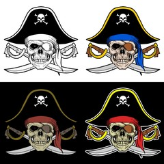 Skull Boss of a Pirate with a big Hat and Crossed Sword, Drawing Skull with 4 Style Color