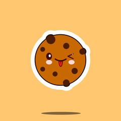 Chocolate Cookie smile cartoon face food kawaii. Flat design Vector Illustration