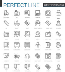 Electronic device thin line web icons set. Gadgets devices outline stroke icons design.