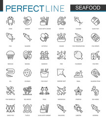 Seafood thin line web icons set. Fish food for restaurant menu outline stroke icons design.