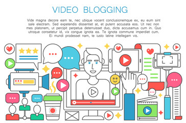 Video blogger flat line concept. Computer screen with male man blogger. Personal blogging channel broadcasting thin outline stroke vector illustration.