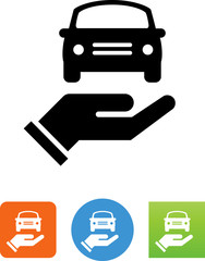 Hand Holding Car Icon - Illustration