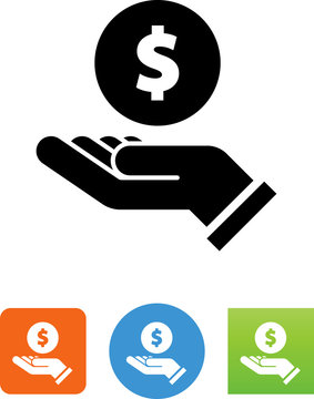 Hand Holding A Coin Icon - Illustration
