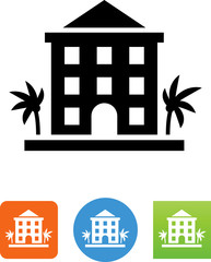 Hotel With Palms Icon - Illustration