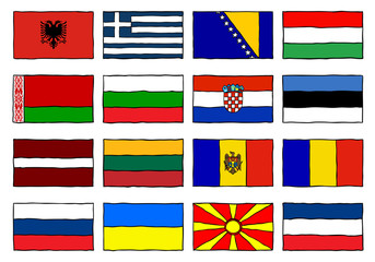 Hand Drawn Flags Eastern Europe