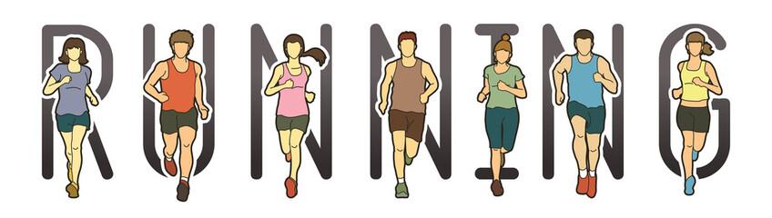 Running text font design, Marathon runners, Group of people running, Men and Women  running graphic vector.
